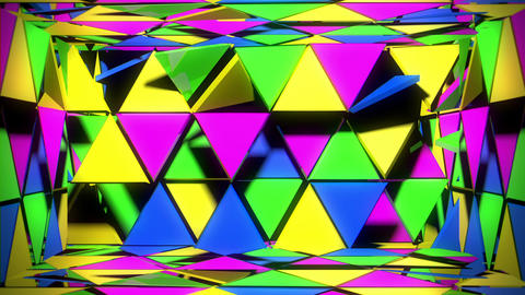 Glowing Colorful Techno Room With Geometreical Shining Rotating Triangle Live Action