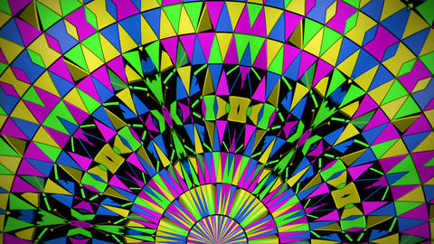 Rotating Circle Colorful Triangle Particles Geometrical Mosaic Kaleidoscopic Footage