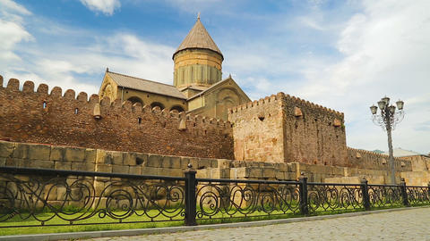 View of Svetitskhoveli Cathedral, religious heritage, ancient famous building Live Action