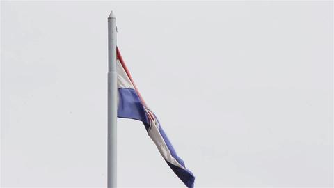 Paraguay Flag On Cloudy Sky Footage