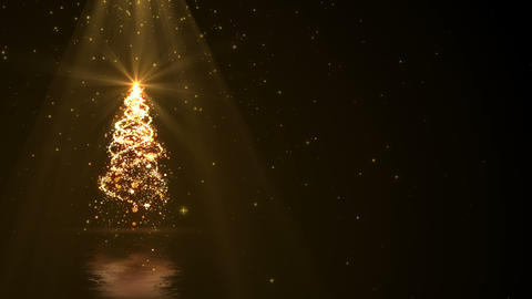 Christmas tree lights and gold ray background loop with copyspace Animation