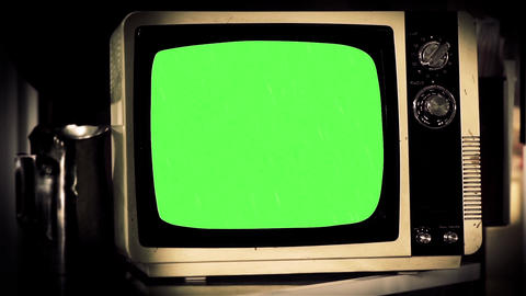Old Tv Green Screen. Close-Up. Blanched Tone. Zoom In Footage