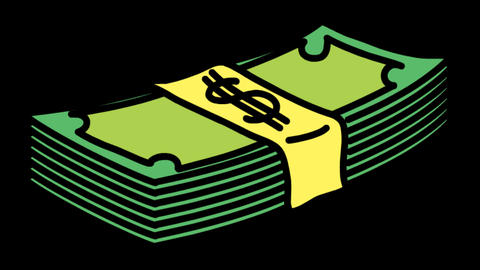 Pile Of Dollar Bills Animation Transparent Vector Motion Graphics Loop Animation