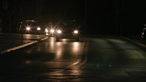 Cars on the Road at Night GIF
