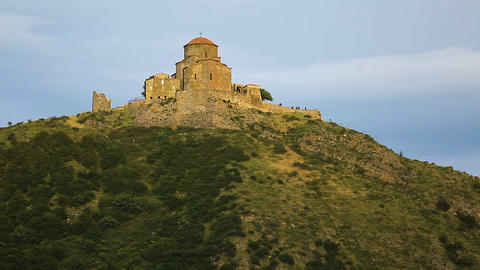 View of ancient ruins Jvari monastery in Georgia, sightseeing places, tourism Footage