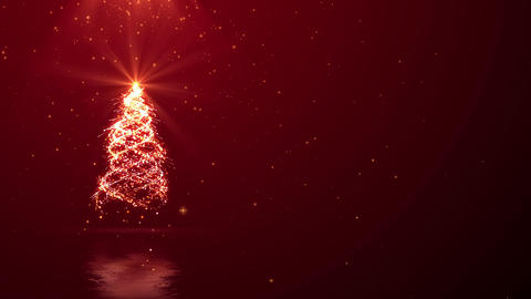 Christmas tree lights and ray on red background looped with space for your text Animation