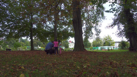 Father walking walking with daughters in park in autumn foliage Live Action