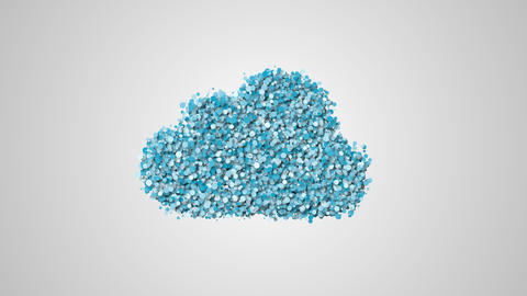 Cloud computing animation, cloud symbol from a lot of particular Footage