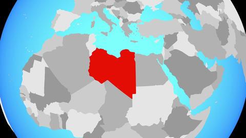 Zooming to Libya on globe Animation