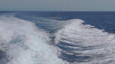 View from the rear of moving speedboat Footage
