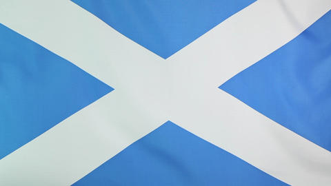 Fabric national flag of Scotland Footage