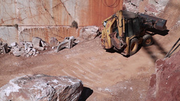 backhoe loader working in marble stone quarry Footage