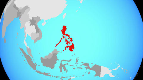 Zooming to Philippines on globe Animation