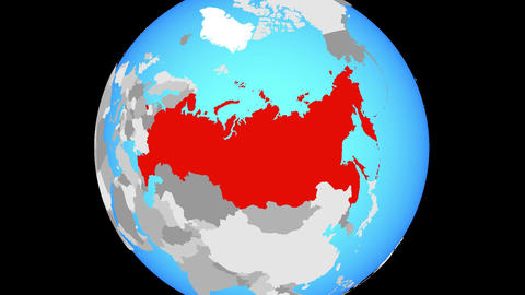 Zooming to Russia on globe Animation