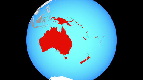 Zooming to Australia on globe Animation