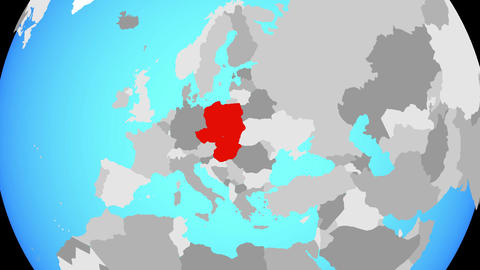 Zooming to Visegrad Group on globe Animation