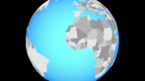Zooming to Gambia on globe Animation