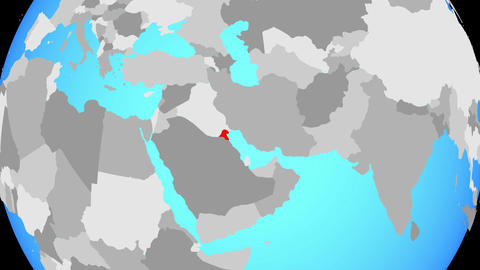 Zooming to Kuwait on globe Animation