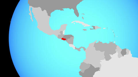 Closing in on El Salvador on blue globe Animation