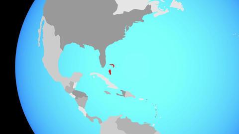 Closing in on Bahamas on blue globe Animation