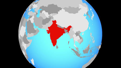 Zooming to India on globe Animation