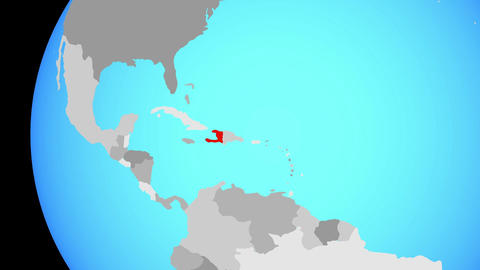 Closing in on Haiti on blue globe Animation