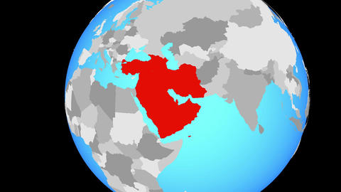 Closing in on Western Asia on blue globe Animation
