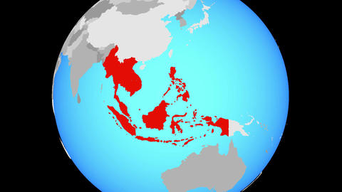 Zooming to South East Asia on globe Animation