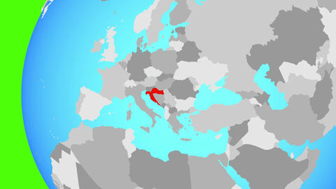 Closing in on Croatia on blue globe Animation