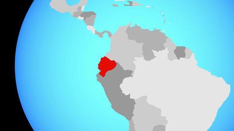 Closing in on Ecuador on blue globe Animation