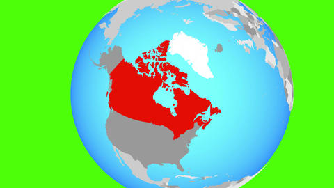 Closing in on Canada on blue globe Animation
