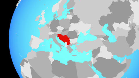 Closing in on Yugoslavia on blue globe Animation