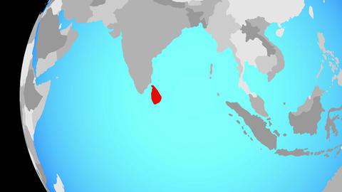Closing in on Sri Lanka on blue globe Animation