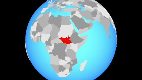 Zooming to South Sudan on globe Animation