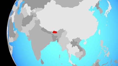 Closing in on Bhutan on blue globe Animation