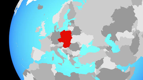 Closing in on Visegrad Group on blue globe Animation