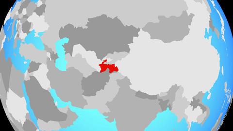 Zooming to Tajikistan on globe CG動画素材