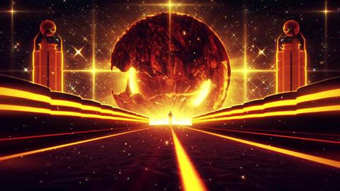 3D Orange Sci-Fi Planet Eye Tunnel VJ Loop Background Animation