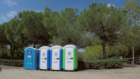 Public Plastic Toilets In The Park Live Action