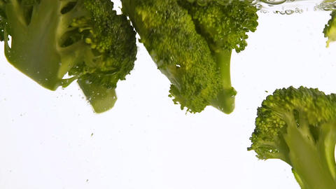 Close up green broccoli thrown floating in water Footage