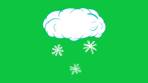 Cloud with the snow on green Animation