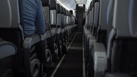 Passengers in comfortable seats of aircraft Footage