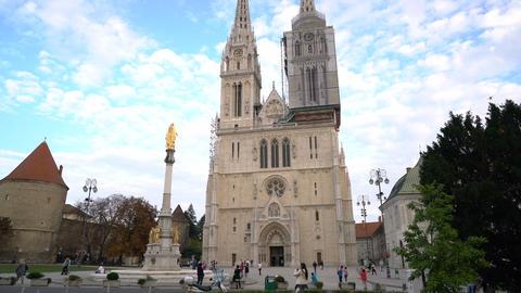 Zagreb, Croatia - September 20, 2016: tourists near Cathedral of Zagreb Footage