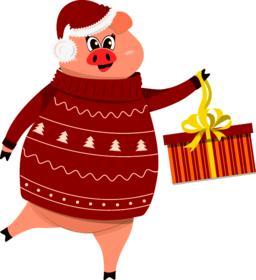 Cute pig character. 2019 New Year symbol Vector