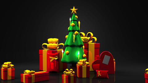 Christmas tree and gift boxes Animation