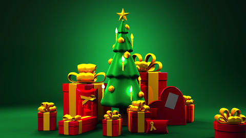 Christmas tree and gift boxes CG動画素材