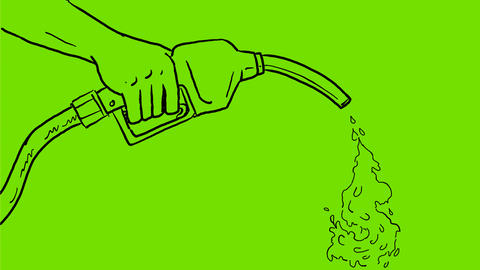 Gas Nozzle Pumping Dollar Out Drawing 2D Animation Animation