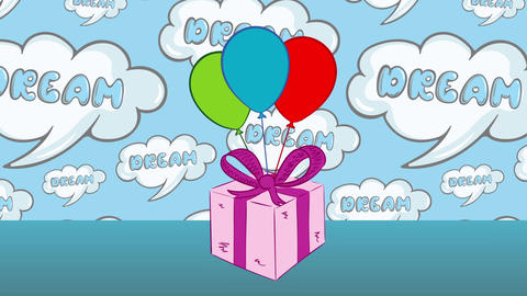 Gift with balloons and dreams Animation