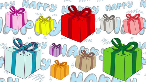 Heap of gifts and happy background Animation