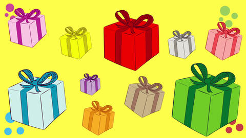 Heap of gifts and yellow back Animation